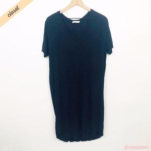 [Sissy-Boy] Navy V-Neck Knee Length T-Shirt Dress